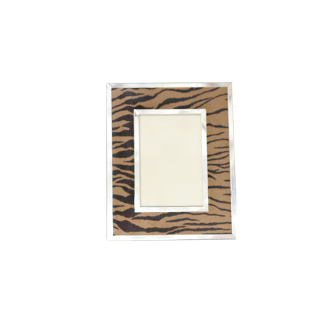 8 x 10 Tiger Print Leather Frame with silver accents