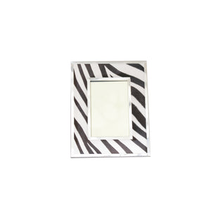 8 x 10 Zebra Print Leather Frame with silver accents