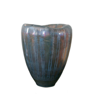 Iridescent glass vase in blue