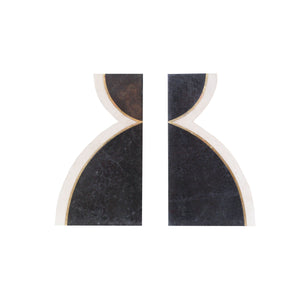 Black and White Inlaid Stone Bookends
