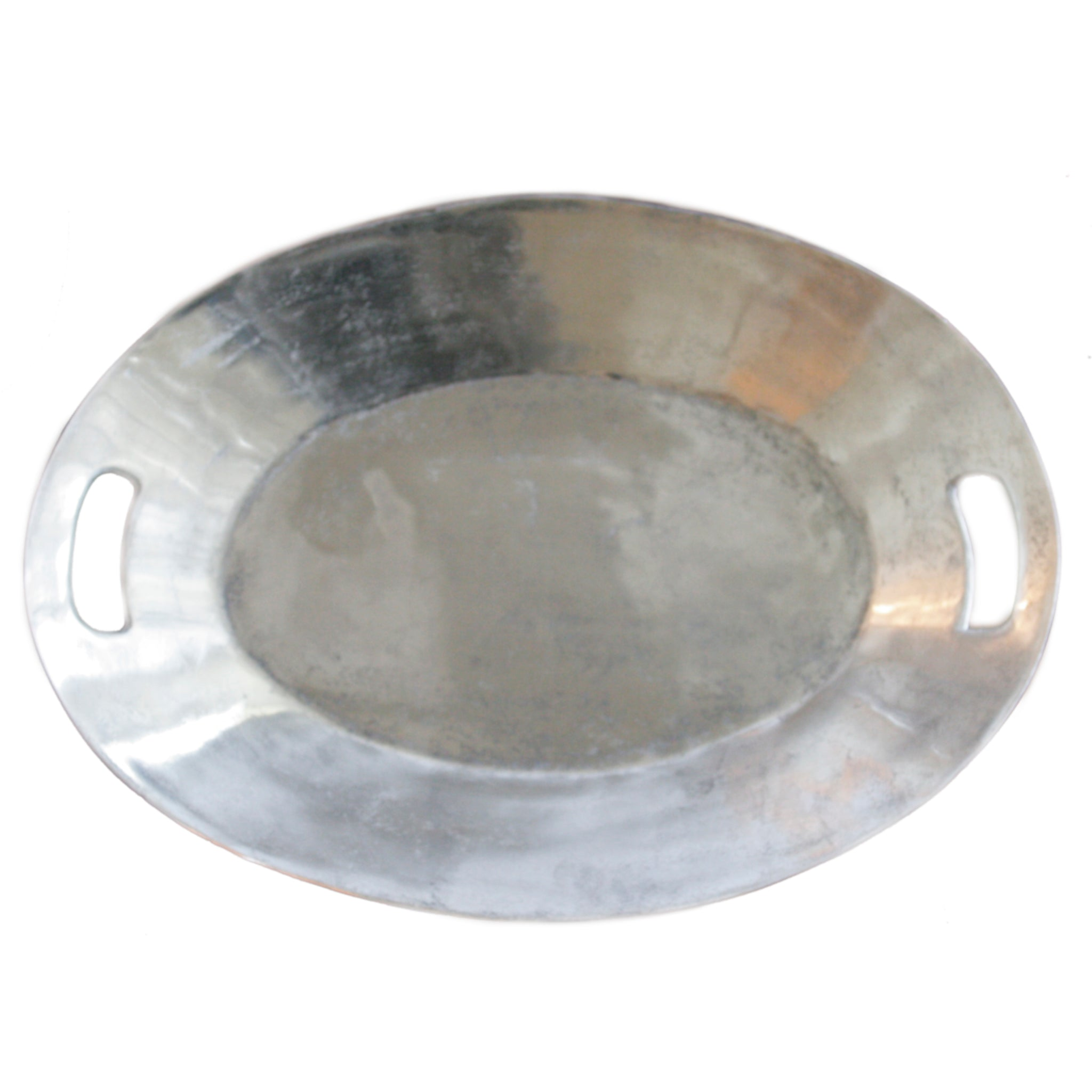 Oval tray in raw nickel