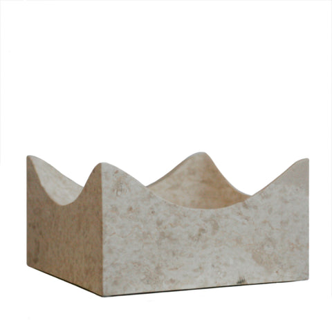 Modern square marble tray in cream marble