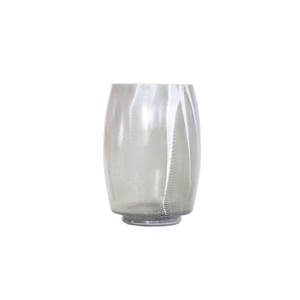Smokey gray glass vase with white strie decoration
