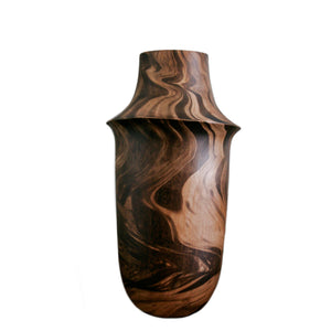 Medium Hand carved burnt Wood Vase
