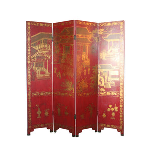 English Chinoiserie Screen in red