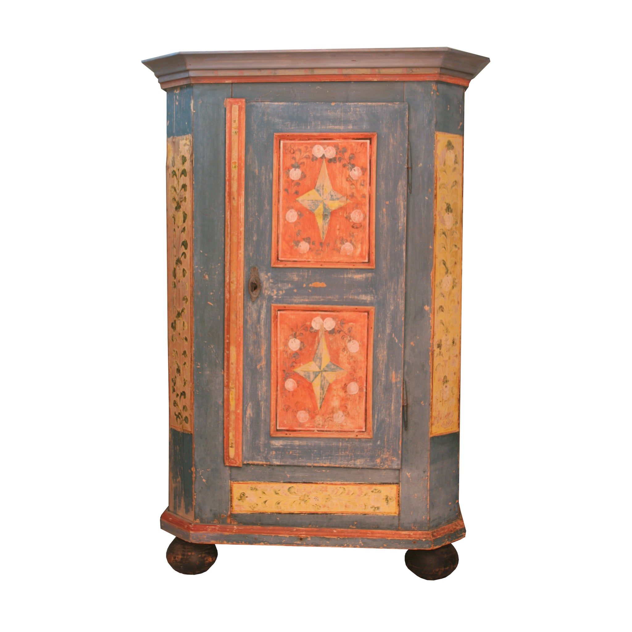 German painted cupboard with key