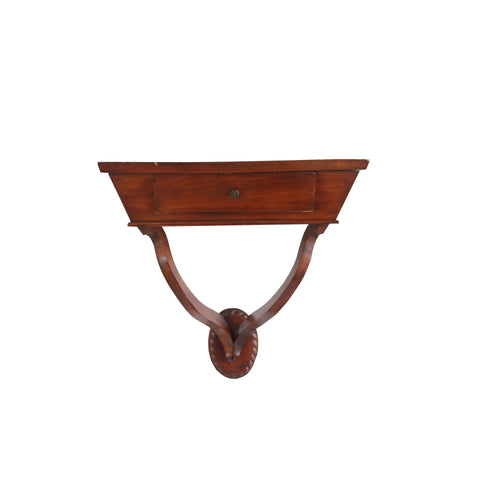 French mahogany wall bracket with drawer in light brown