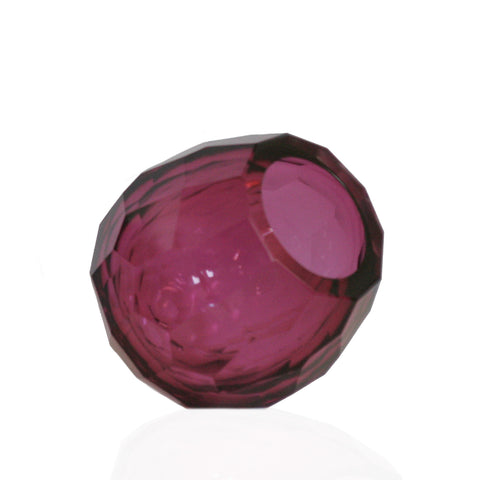 Faceted Geometric Glass Vase in Magenta