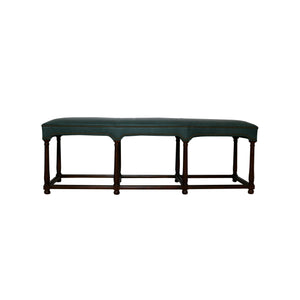 Marit Bench by Hickory Chair shown in Drama Green Vacona leather