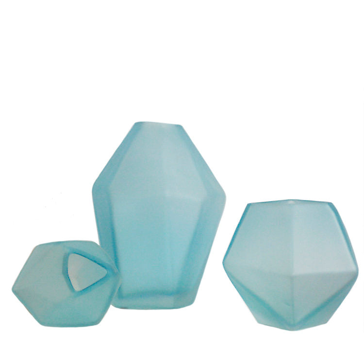 Frosted blue glass polyhedron vases