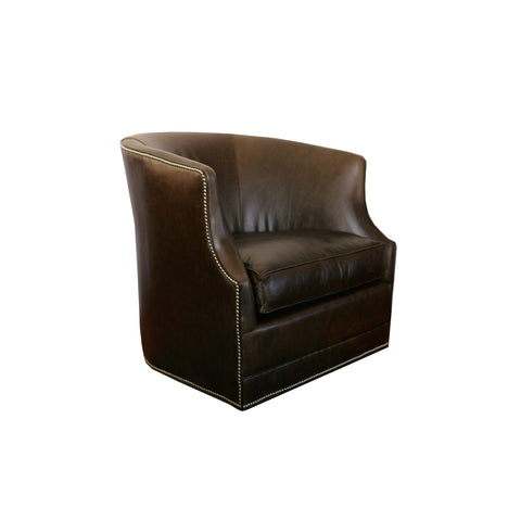 The Zelda Swivel Chair by Lee Industries in espresso leather