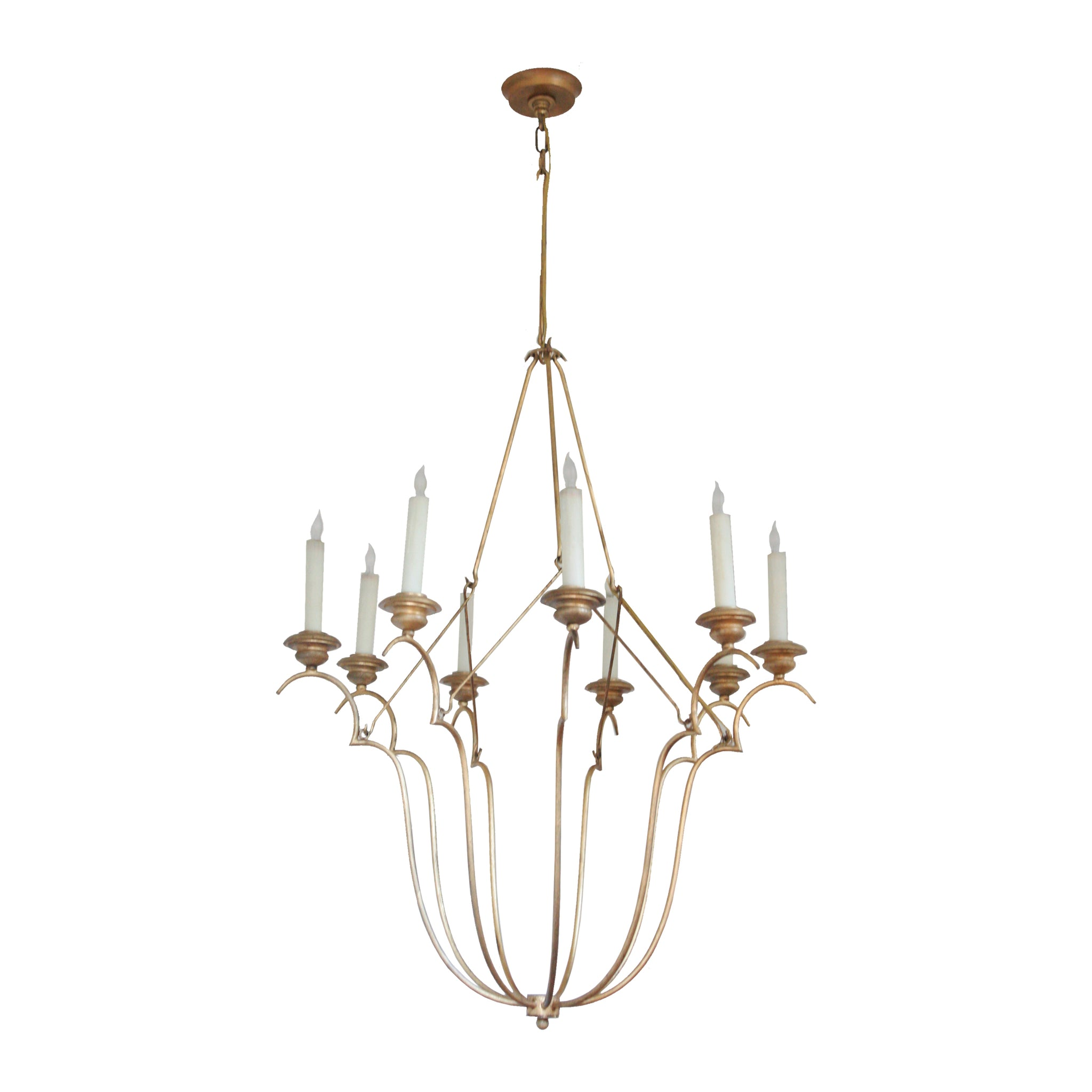 Belvedere Chandelier in Gilded Iron Wax with Natural Paper Shade