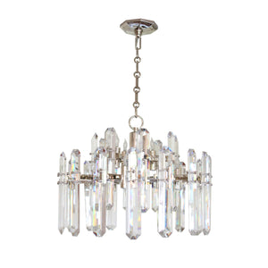 Bonnington Chandelier in Polished Nickel With Crystal