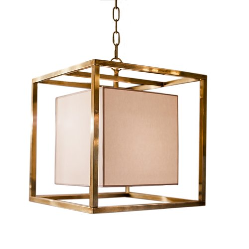 Caged Small Lantern in Hand-Rubbed Antique Brass with Natural Paper Shade