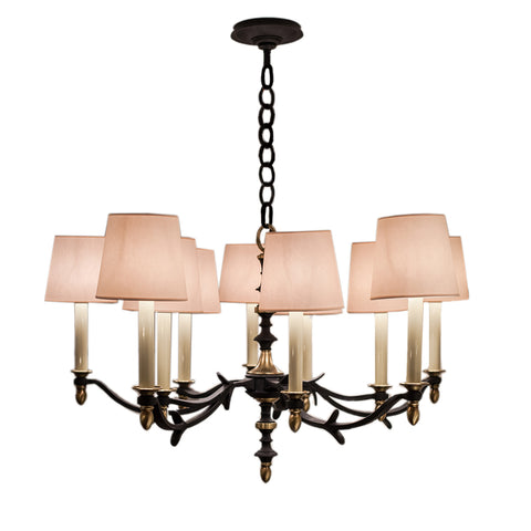 Chandler Small Chandelier in Blackened Rust with Hand-Rubbed Antique Brass and Natural Paper shade