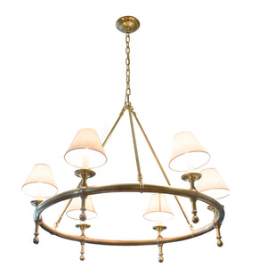 Classic Ring Chandelier in Hand-rubbed Antique Brass with Natural Shade