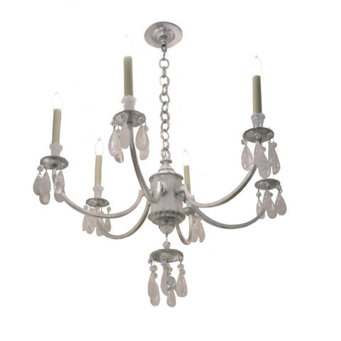 Elizabeth Chandelier in Burnished Silver Leaf with Quartz