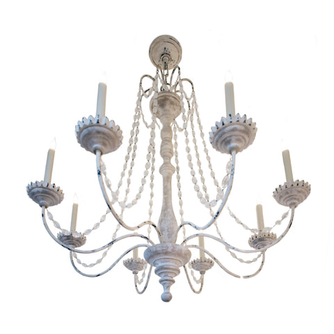 Flanders Chandelier In Belgian White with Seeded Glass Beads