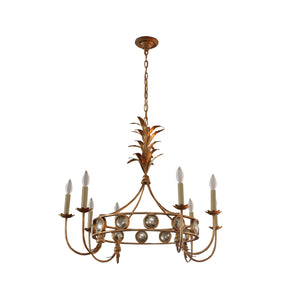 Gramercy Medium Ring Chandelier in Gilded Iron with Mercury Glass