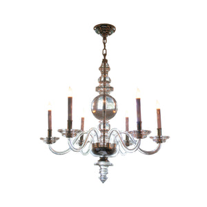 Large George II Chandelier by Visual Comfort & Co. in Crystal with Polished Nickel