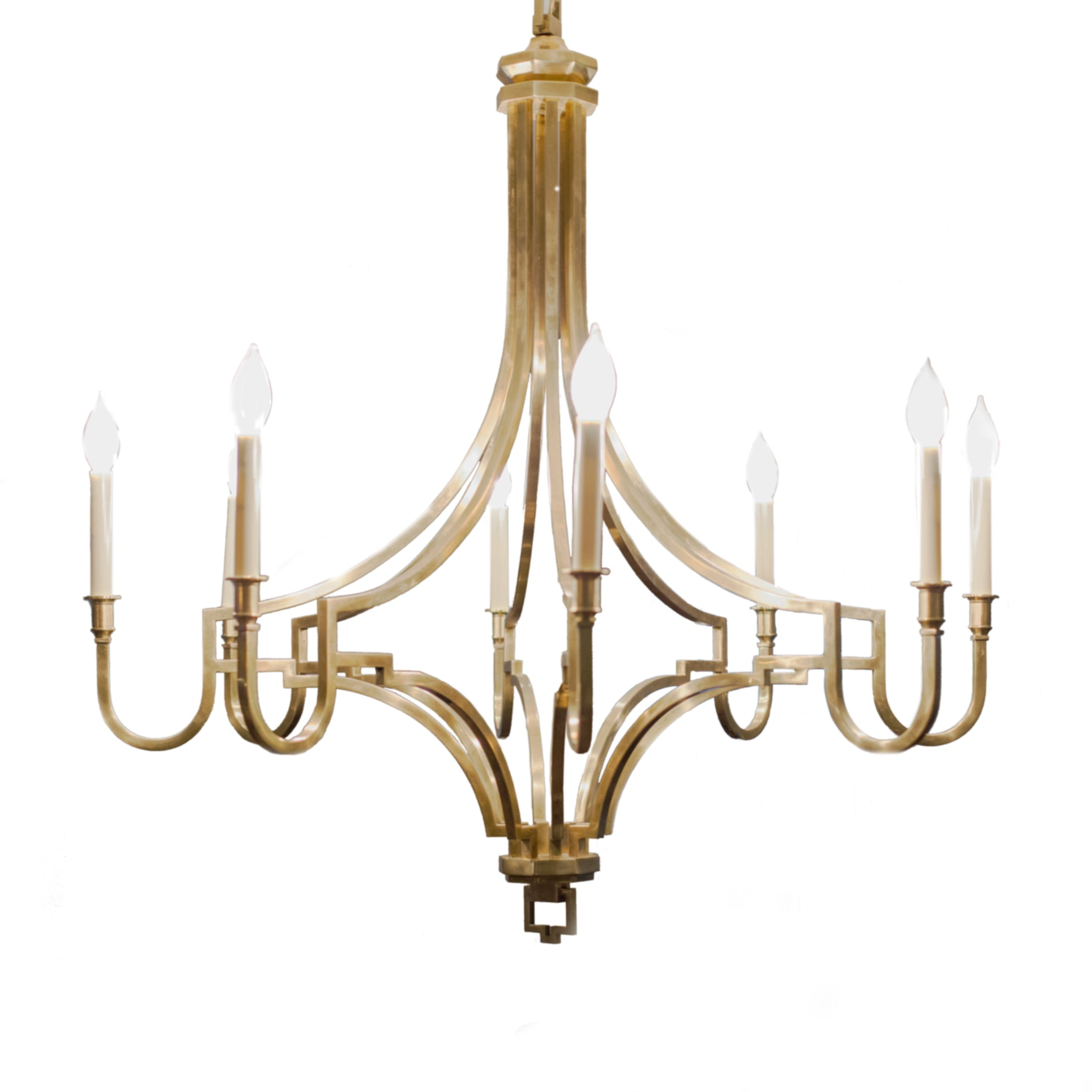 Mykonos large chandelier in antique burnished brass