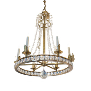 Regency Style Chandelier in Hand-rubbed Antique Brass with Seeded Glass