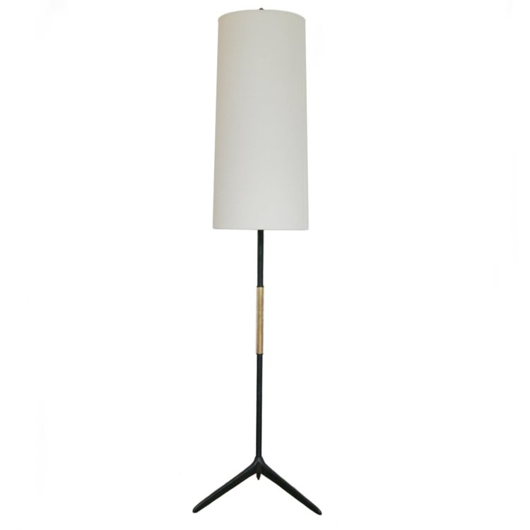 Frankfort Floor Lamp in Aged Iron with Gilded Accents with Linen Shade