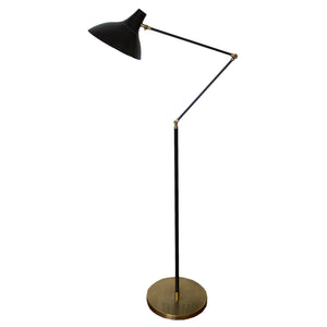 Charlton Floor Lamp in Black and Hand-Rubbed Antique Brass by AERIN for Visual Comfort & Co