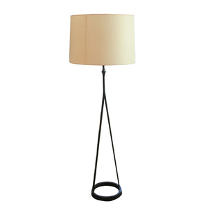 Dauphine Floor Lamp in Aged Iron with Natural Paper Shade