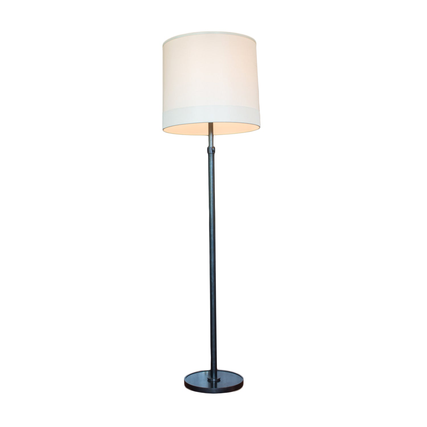 Simple Floor Lamp in Bronze with Silk Shade