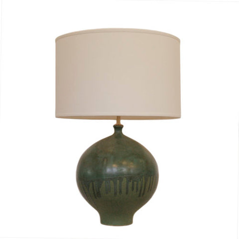 Gaois Table Lamp in Volcanic Verde with Linen Shade