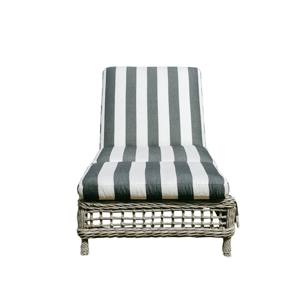 Moraya Bay Chaise by Lane Venture in Oyster finish upholstered in black and white awning stripe