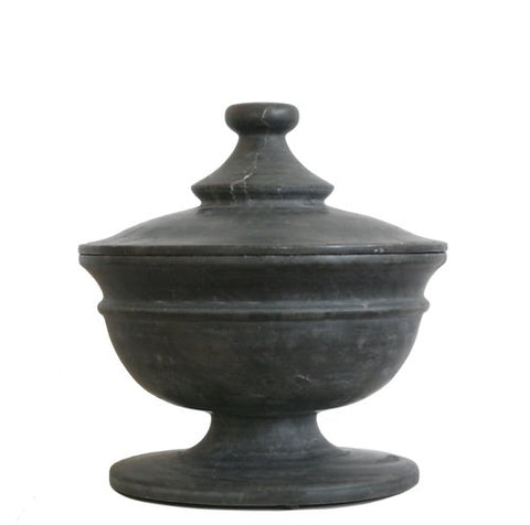 Black marble footed vessel with lid