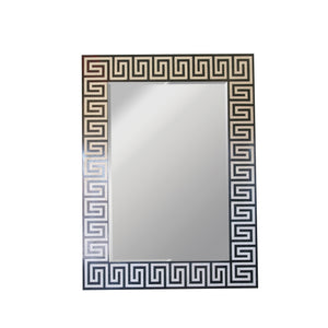 Greek Key Inlaid Stone Mirror in black and white
