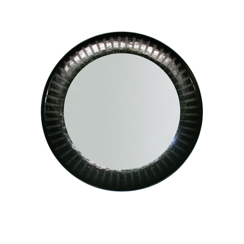 Patterned inlaid round mirror in black