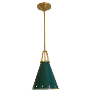 Hadley small pendant in natural brass with dark green tole shade