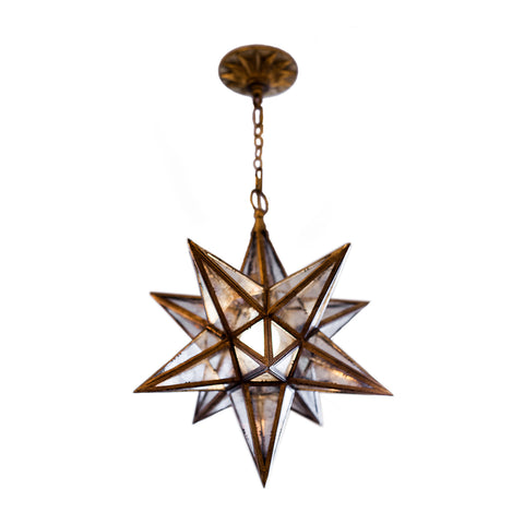 Medium Moravian Star lantern in gilded iron with antique mirrored glass