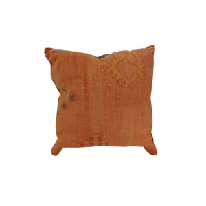 22 x 22 Pillow made from a Kilim rug with back in dark brown cotton twill