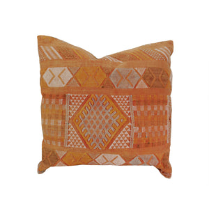 22 x 22 pillow made from a Kilim rug in orange