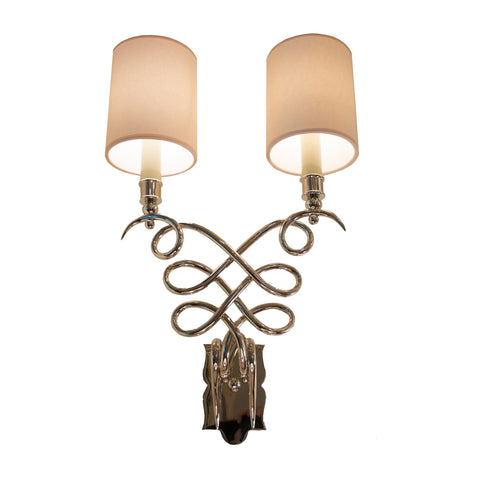 Catherine Wall Sconce in polished nickel with Natural paper shades