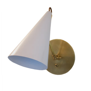 Clemente Wall Light in Hand-Rubbed Burnished Brass with White