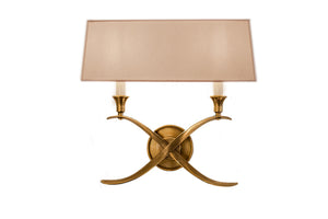 Cross Bouillotte Sconce in Antique-Burnished Brass