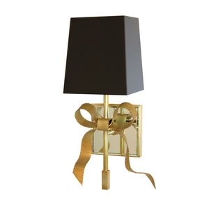 Ellery Gros-Grain Bow Small Sconce in Soft Brass with Black Shade
