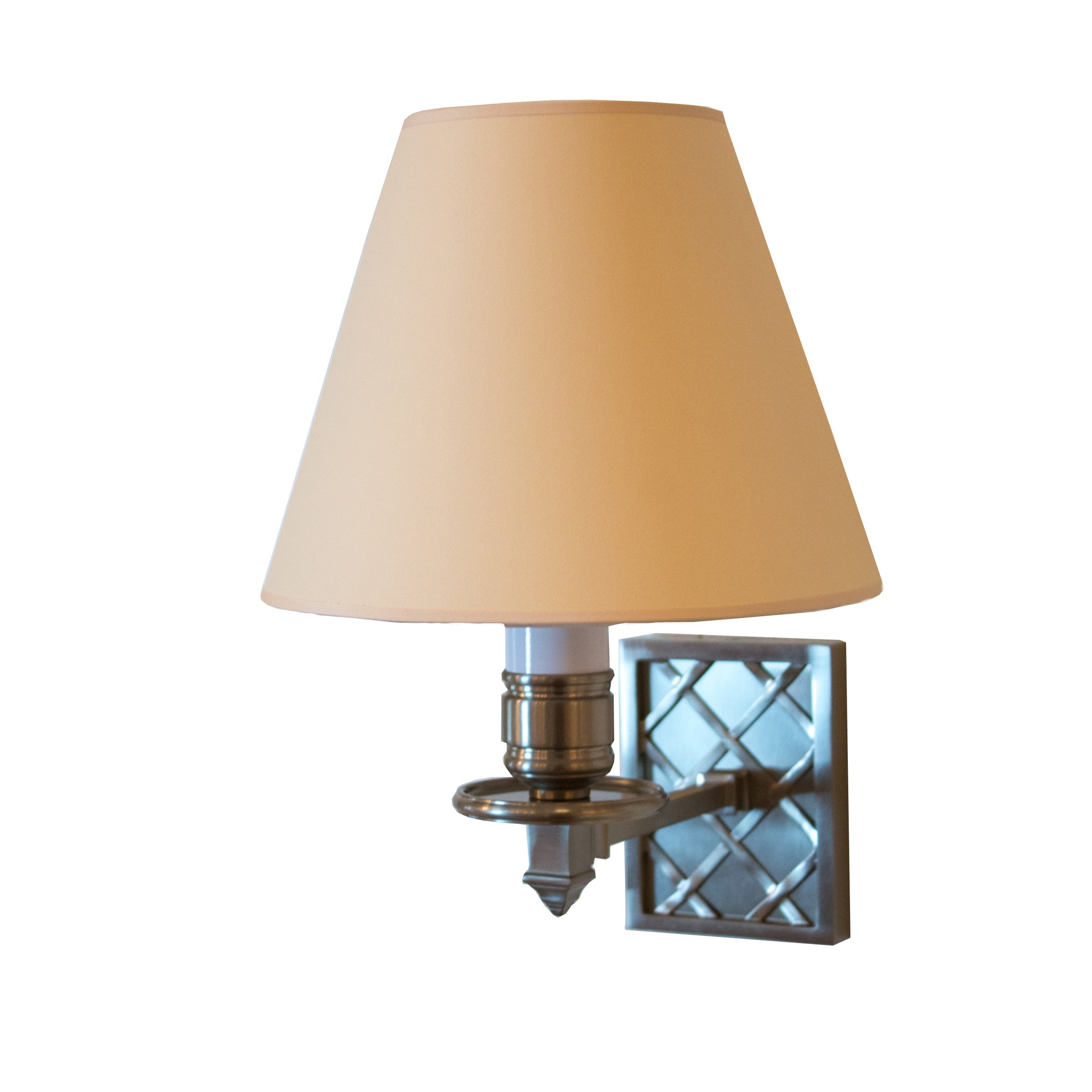 Gene Single Arm Sconce in Brushed Nickel with Natural Paper