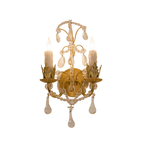 Hannah Two-Light Sconce in Hand-Rubbed Antique Brass with Crystal Trim