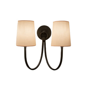 Reed Double Sconce in Bronze with Double Shade