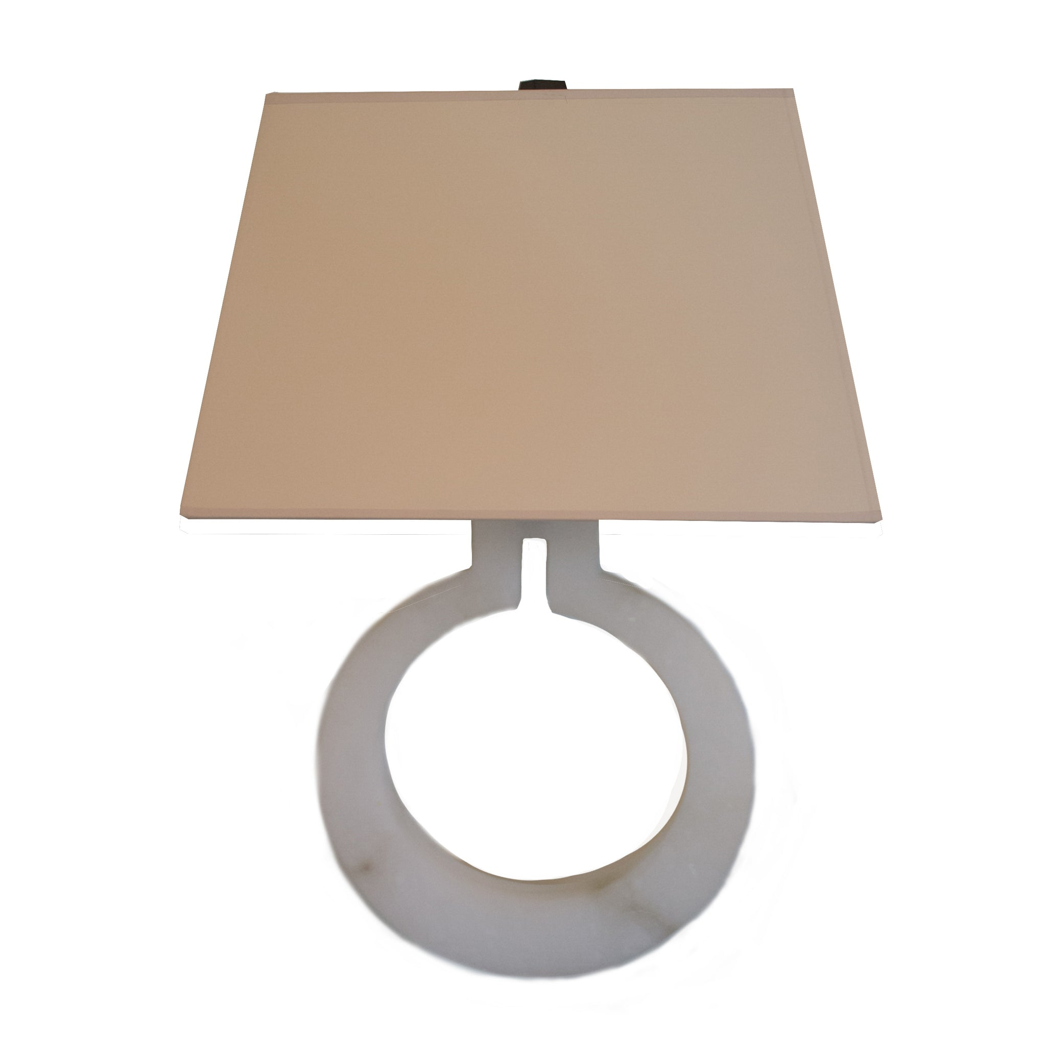 Ring Form Large Wall Sconce in Alabaster with Natural Paper Shade