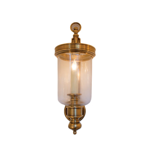 Small Georgian Hurricane Wall Sconce In Antique Burnished Brass