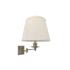 Triple Swing Arm Sconce in Antique Nickel with Linen Shade