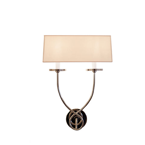 Symmetric Twist Double Sconce in Polished Nickel